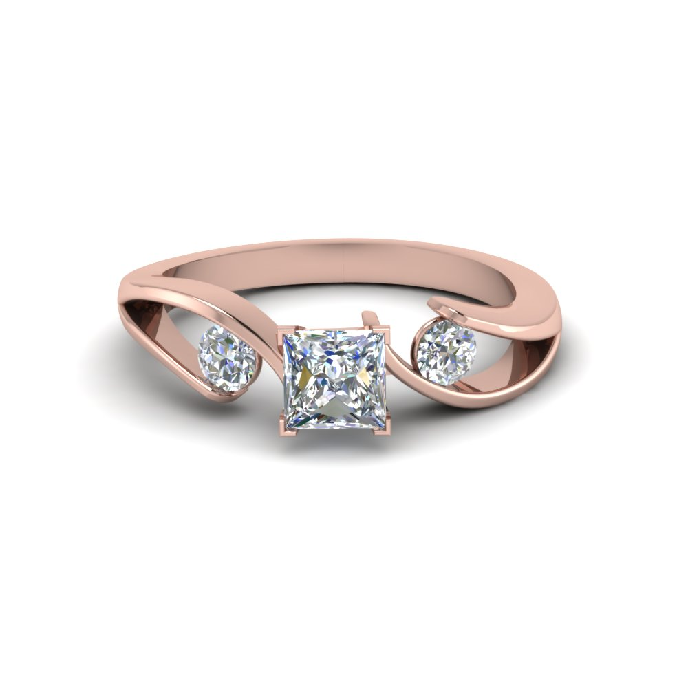 Tension Set Princess Cut 3 Stone Diamond Ring In 14K Rose Gold