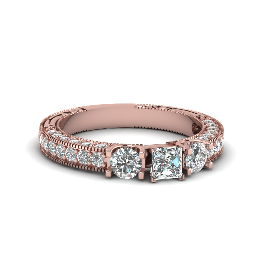 Milgrain Diamond Wedding Rings