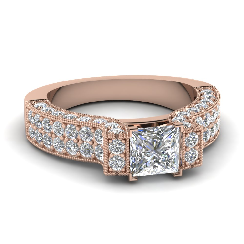 Princess Cut Pave Milgrain Ring