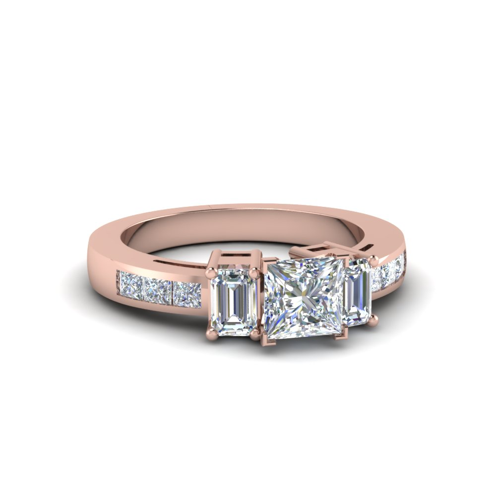 Channel Set 3 Stone Princess Cut Diamond Engagement Ring In 14K Rose Gold