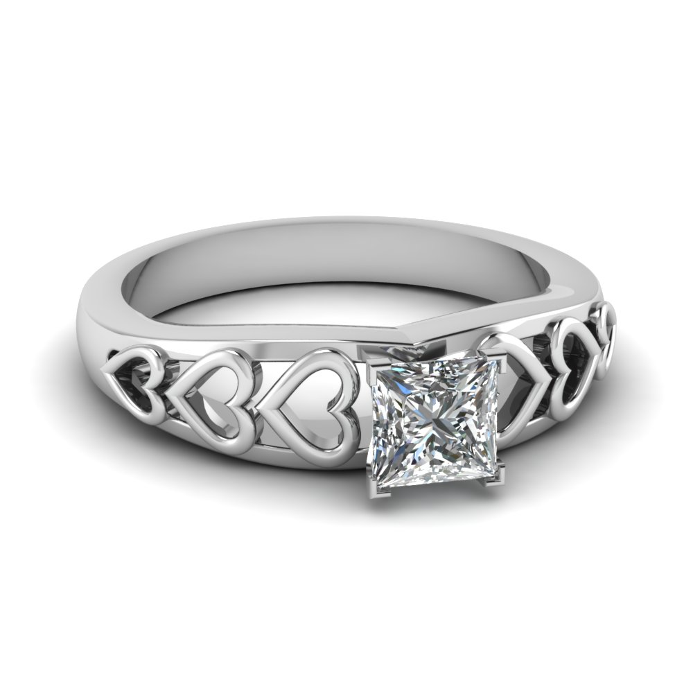 princess cut heart design solitaire diamond engagement ring in FD1148PRR NL WG