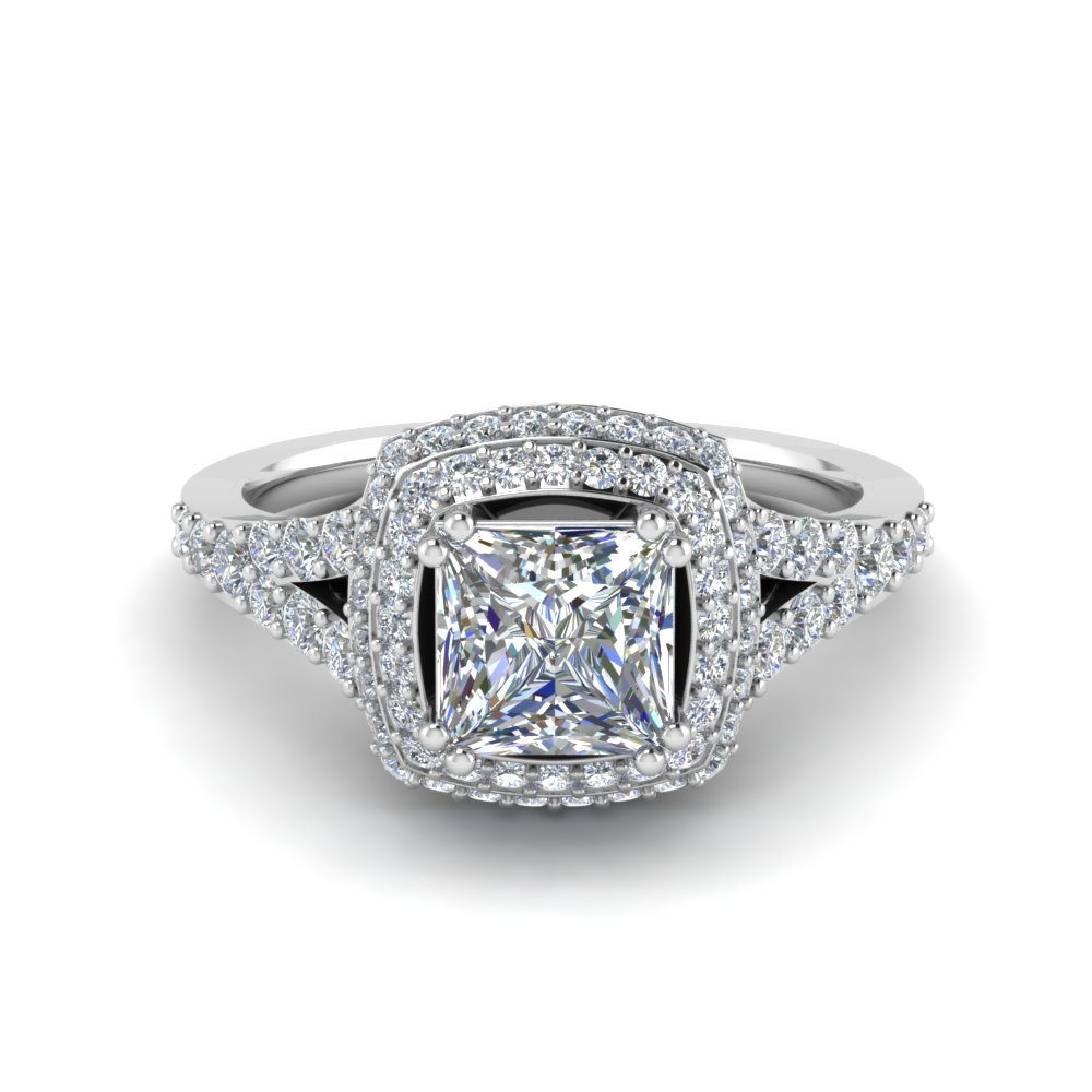 micropave princess cut diamond halo engagement ring in FD8688PRR NL RG