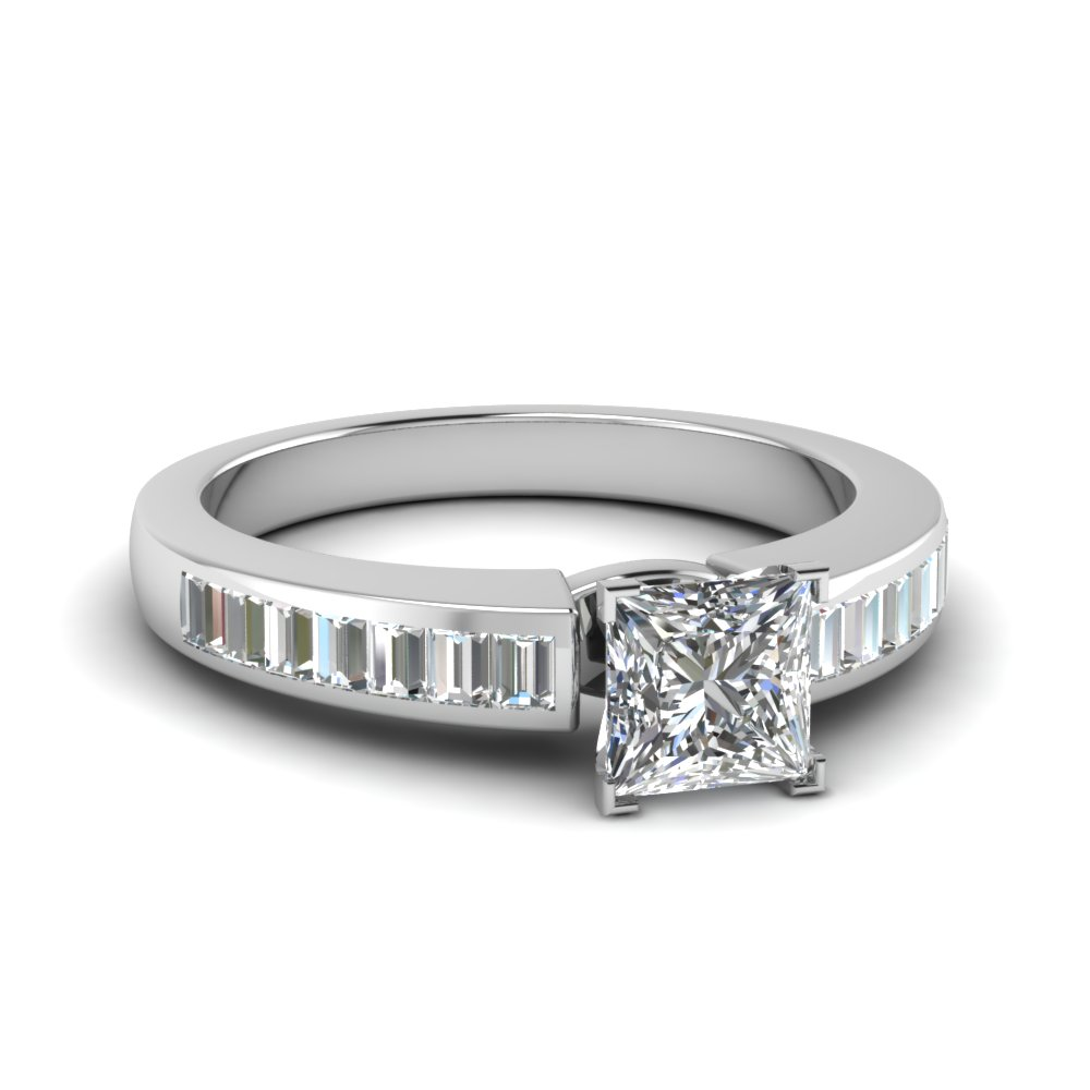 channel baguette princess cut diamond engagement ring in FDENR1009PRR NL WG