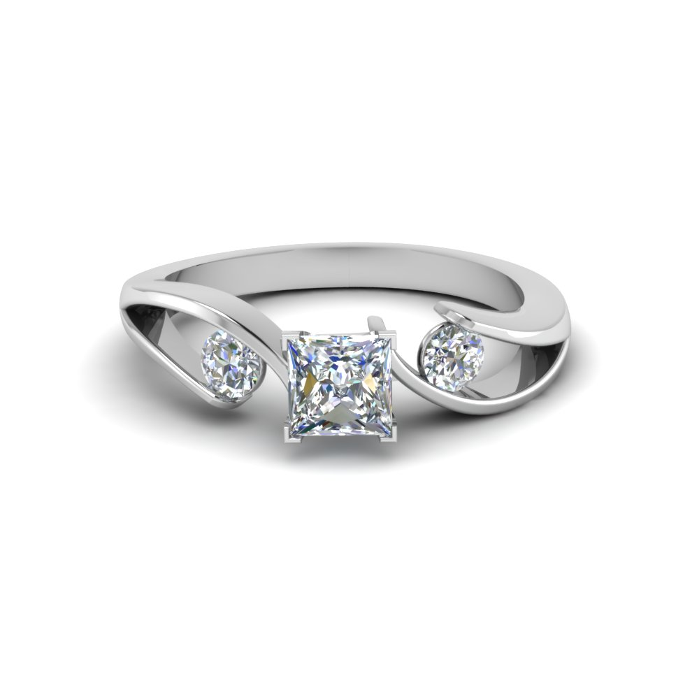 Tension Set 3 Stone Engagement Ring