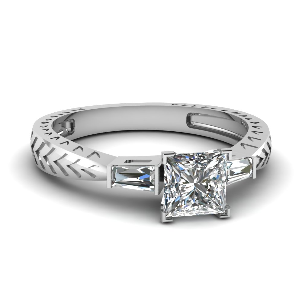 princess cut diamond engagement ring in 14K white gold FDENR1202PRR NL WG