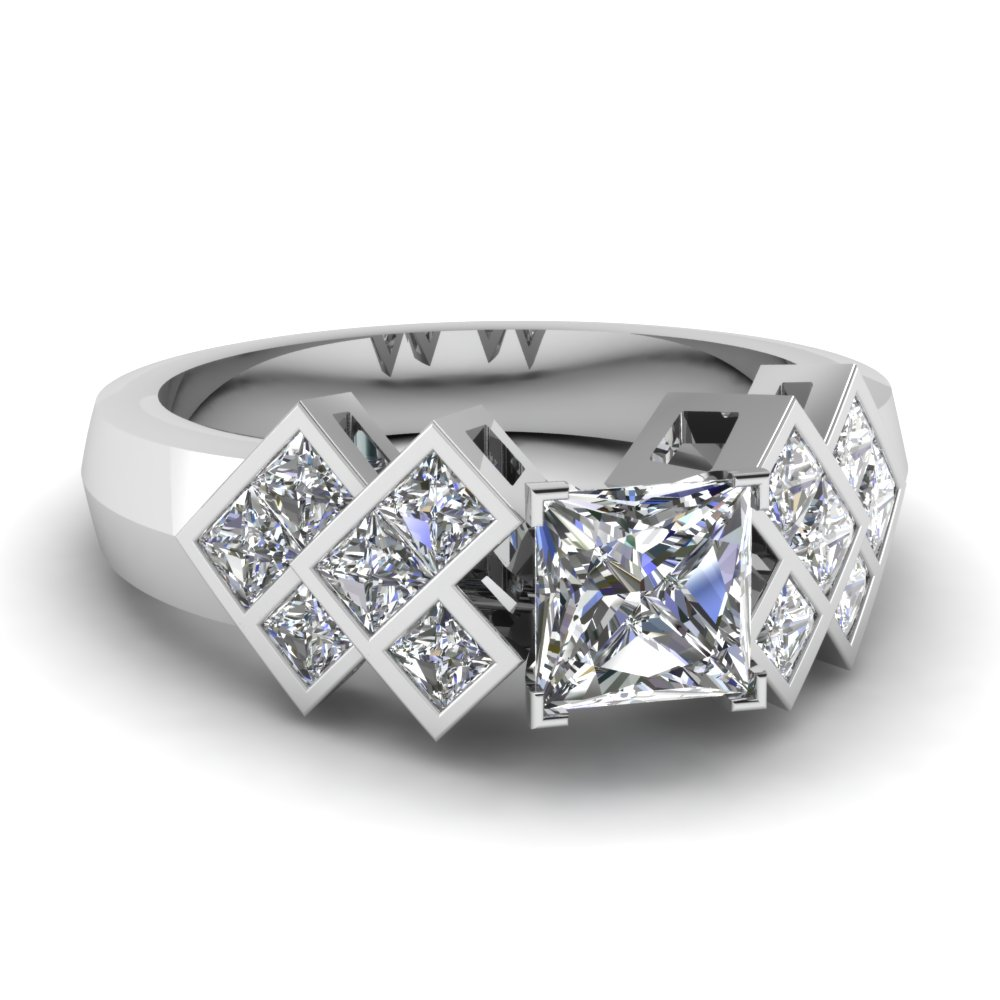 princess cut diamond engagement ring in 14K white gold FDENR1751PRR NL WG