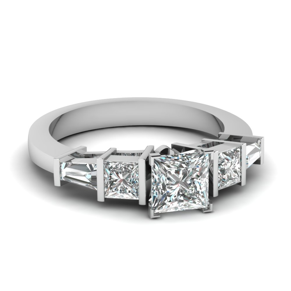 princess cut art deco bar diamond engagement ring in FDENR2751PRR NL WG