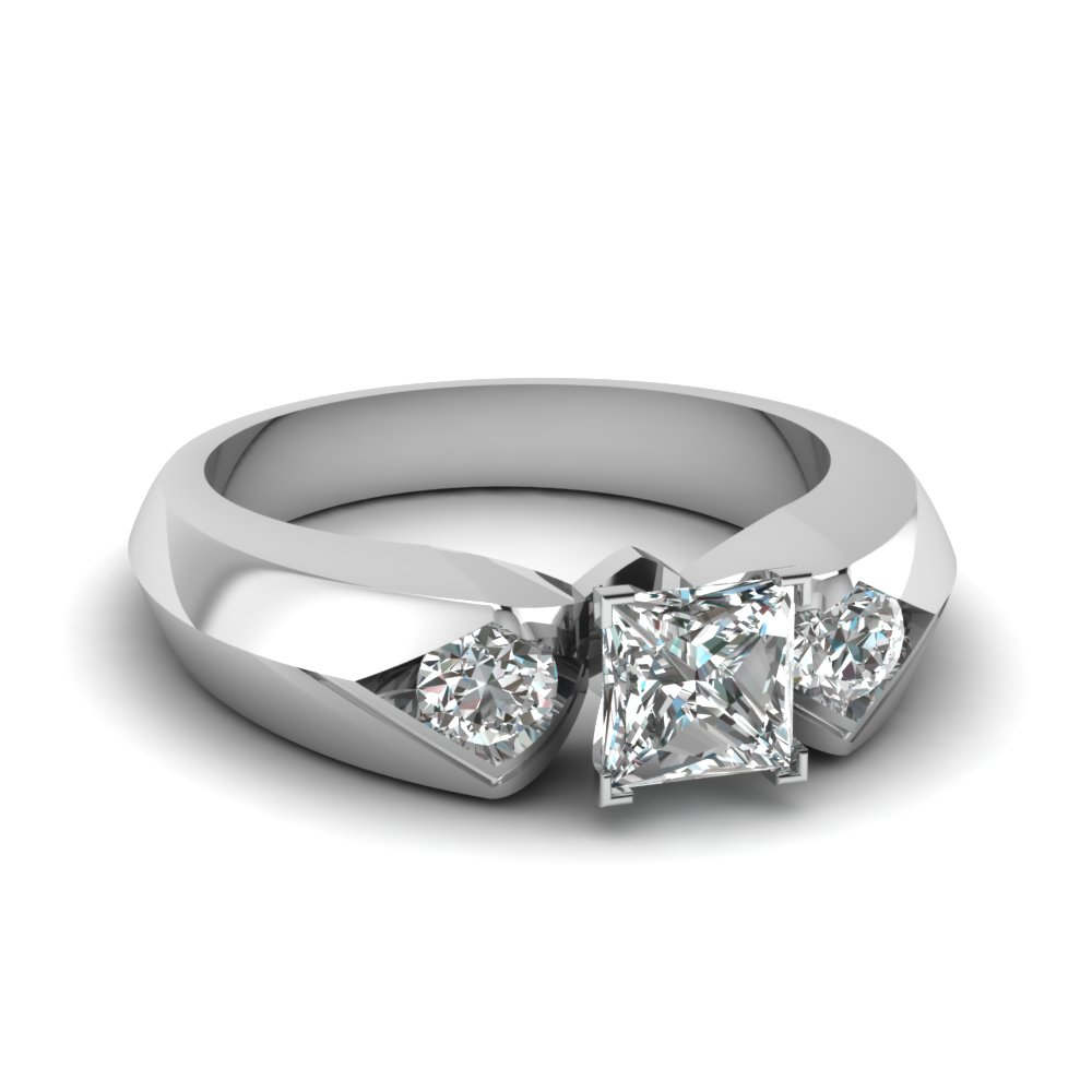 Knife Edge 3 Stone Engagement Ring