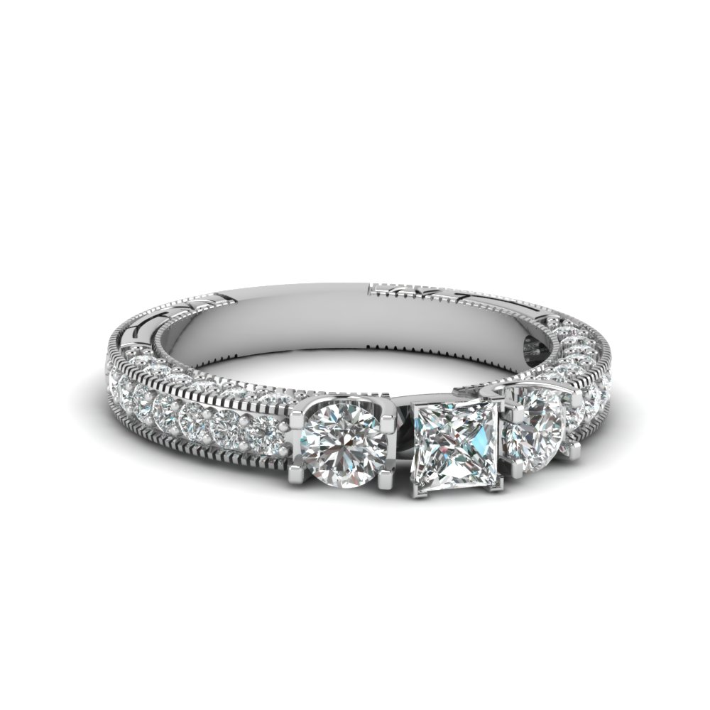 Princess Cut Milgrain Diamond Rings
