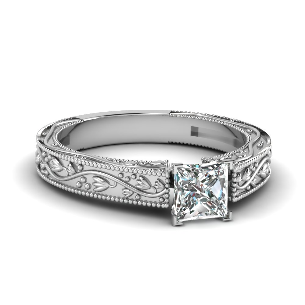 floral engraved princess cut solitaire moissanite engagement ring in FDENS3577PRR NL WG