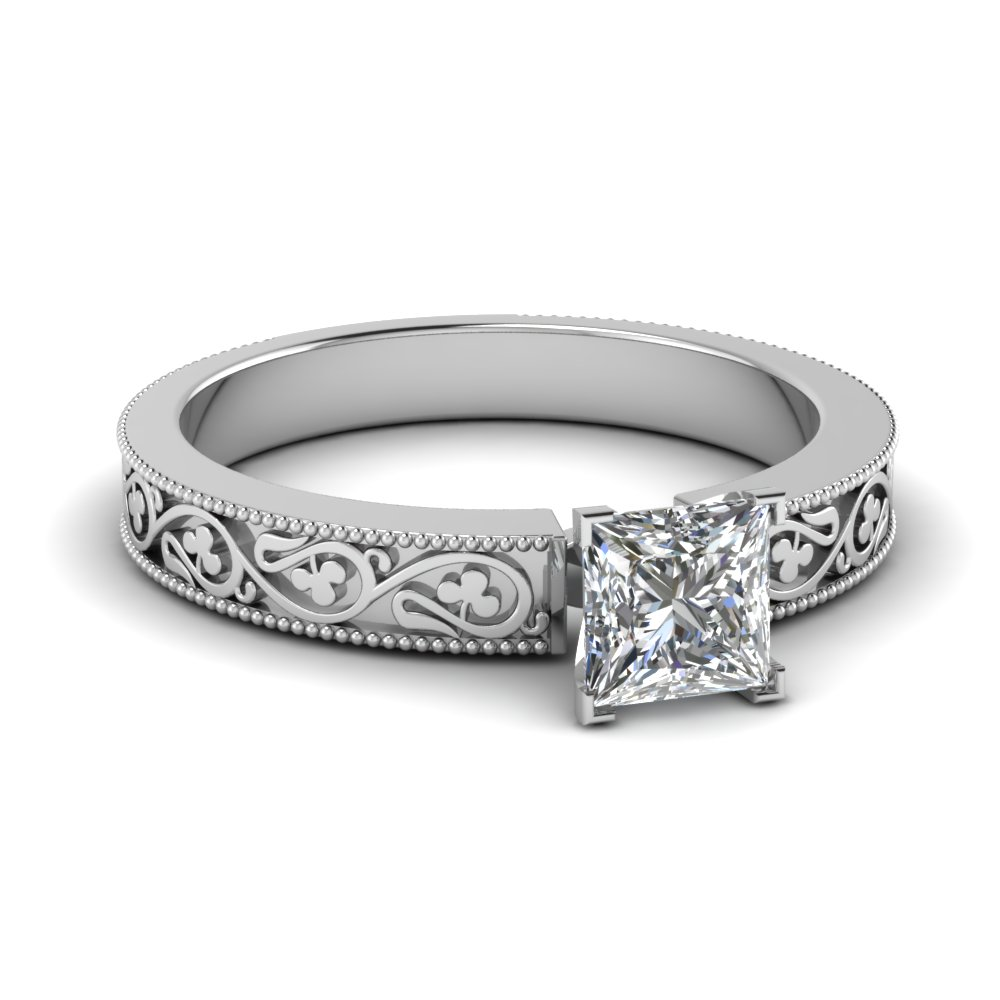 Princess Cut Diamond Carved Ring