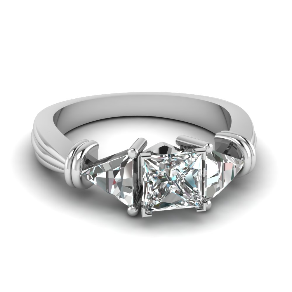 trillion 3 stone princess cut diamond engagement ring in FDENS623PRR NL WG
