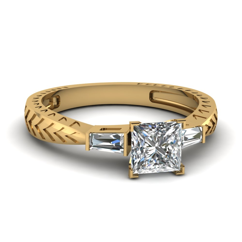 Gold Princess Cut 3 Stone Rings