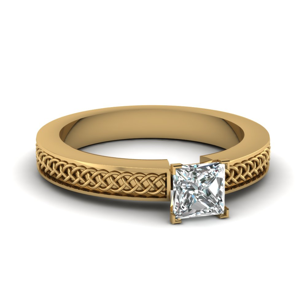 weaved design princess cut solitaire engagement ring in FDENS3617PRR NL YG