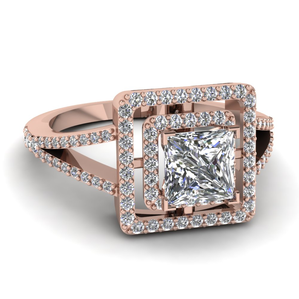 Princess Cut Diamond Double Halo Engagement Ring With White Diamond In 18k Rose  Gold