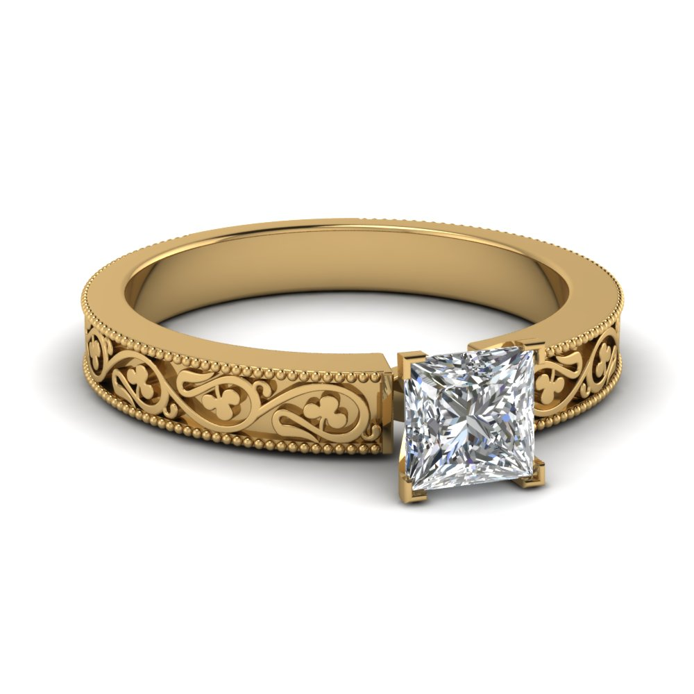 Princess Cut Diamond Engagement Ring In 18K Yellow Gold ...