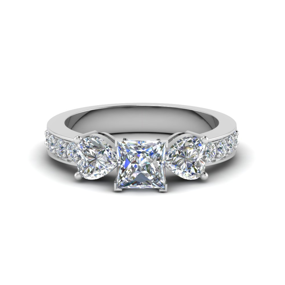 Platinum Princess 3 Stone Engagement Ring