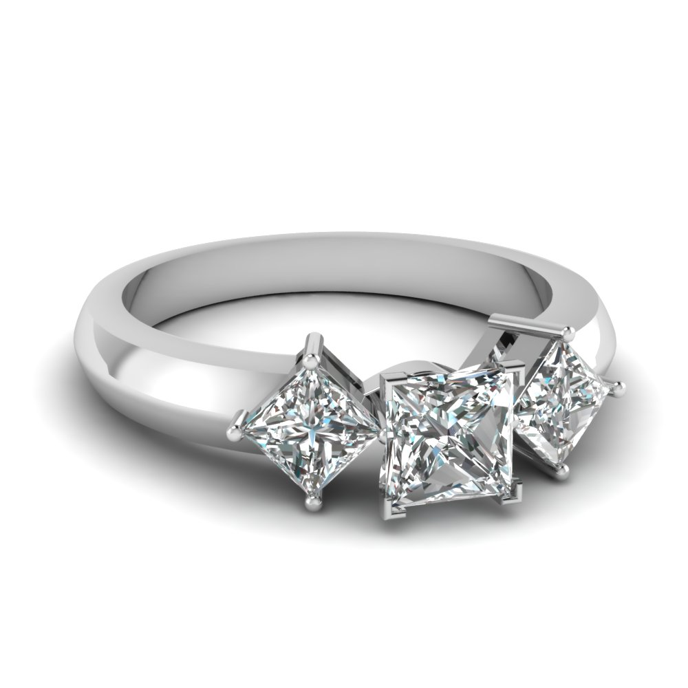 kite set 3 stone princess cut engagement ring in FDENR263PRR NL WG