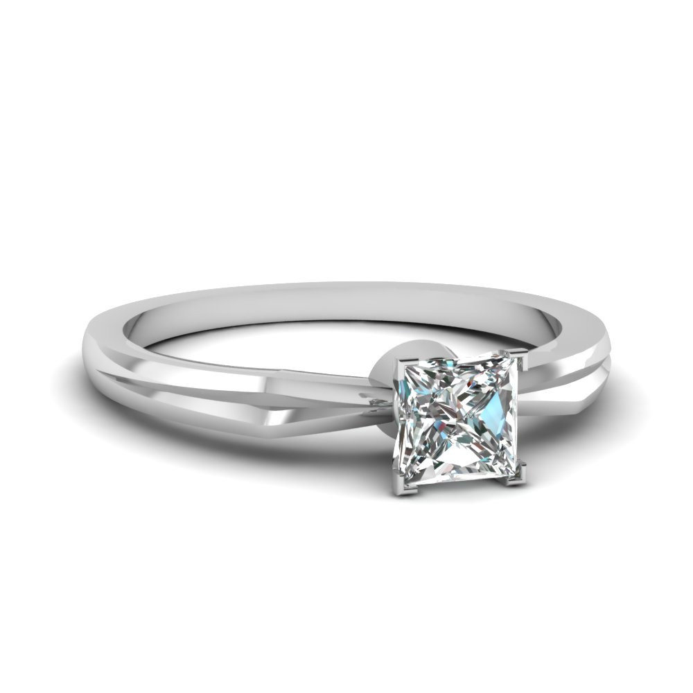 Tapered Princess Cut Diamond Solitaire Engagement Ring In 950