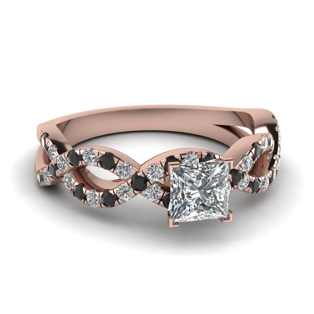 Princess Cut Infinity Ring With Black Diamond In 14K Rose Gold