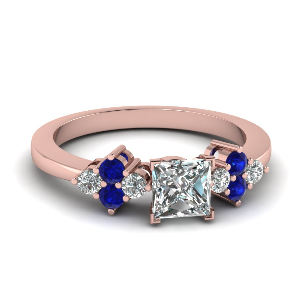 Blue Sapphire Princess Diamond Petite Ring