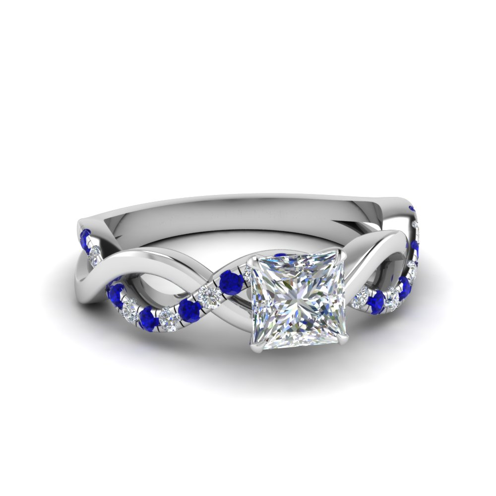 princess cut infinity diamond engagement ring with sapphire in FD1122PRRGSABL NL WG