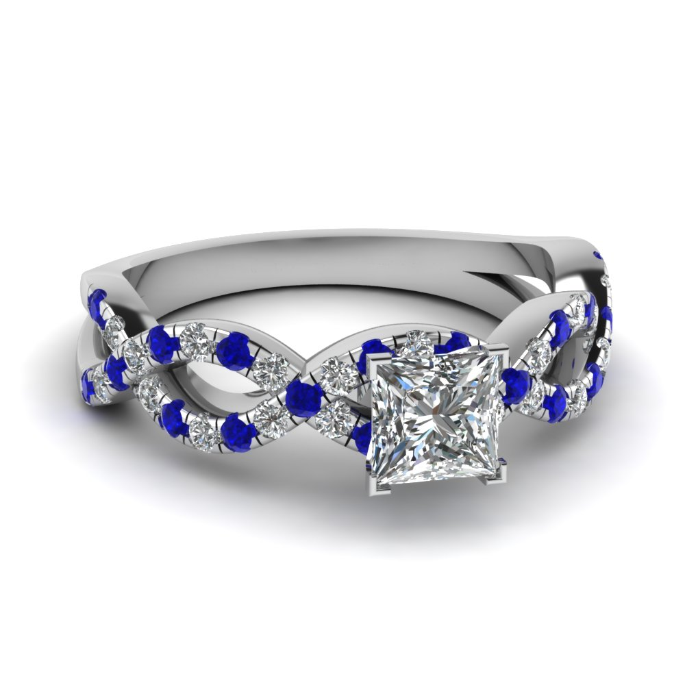 princess cut infinity diamond engagement ring with sapphire in FD1121PRRGSABL NL WG