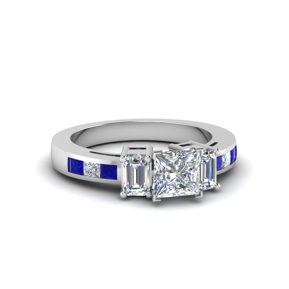 Princess Cut Channel Set 3 Stone Ring