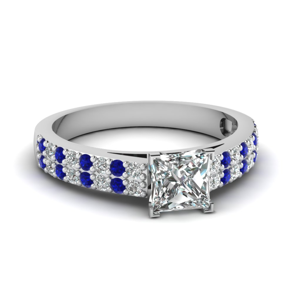 2 row princess cut diamond engagement ring with sapphire in FDENS3010PRRGSABL NL WG