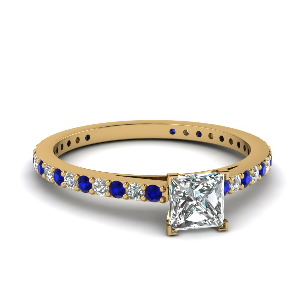 classic delicate princess cut diamond engagement ring with sapphire in FDENS1425PRRGSABL NL YG