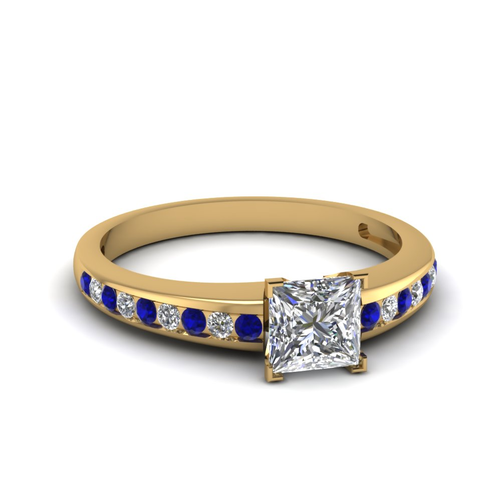channel set princess cut diamond engagement ring with sapphire in FDENS3018PRRGSABL NL YG