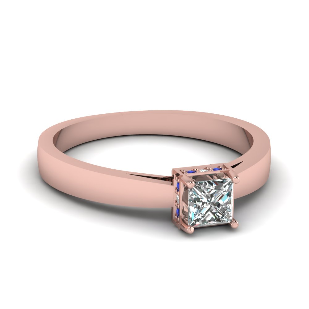 18K Rose Gold Round Cut Side Stone Engagement Rings | Fascinating ...