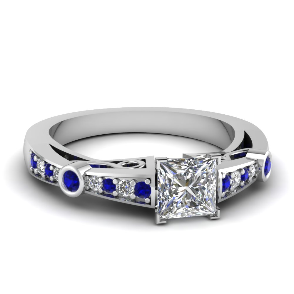 princess cut diamond tapered vintage engagement ring with sapphire in FDENR3142PRRGSABL NL WG