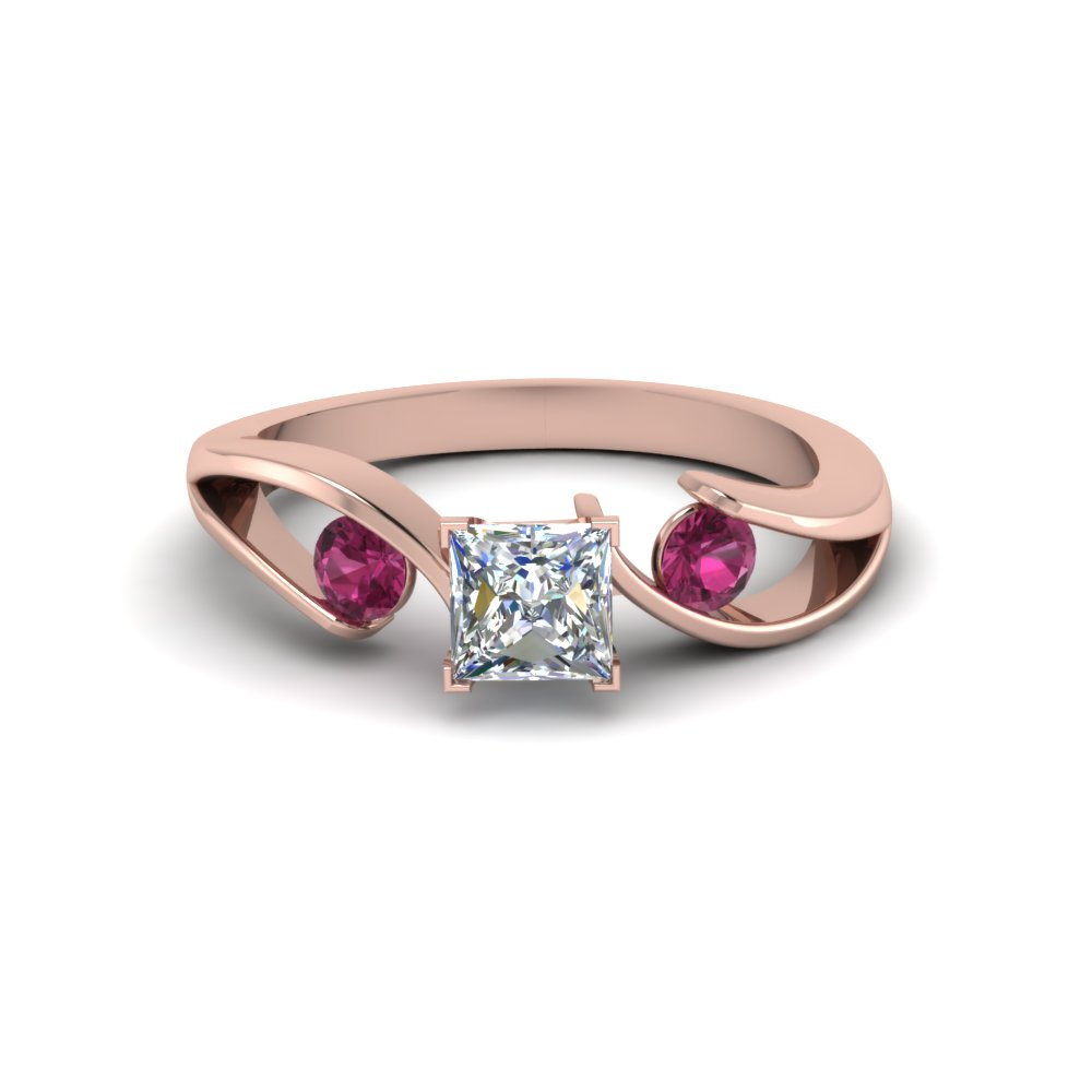tension set princess cut 3 stone moissanite engagement ring with pink sapphire in FDENR1140PRRGSADRPIANGLE1 NL RG