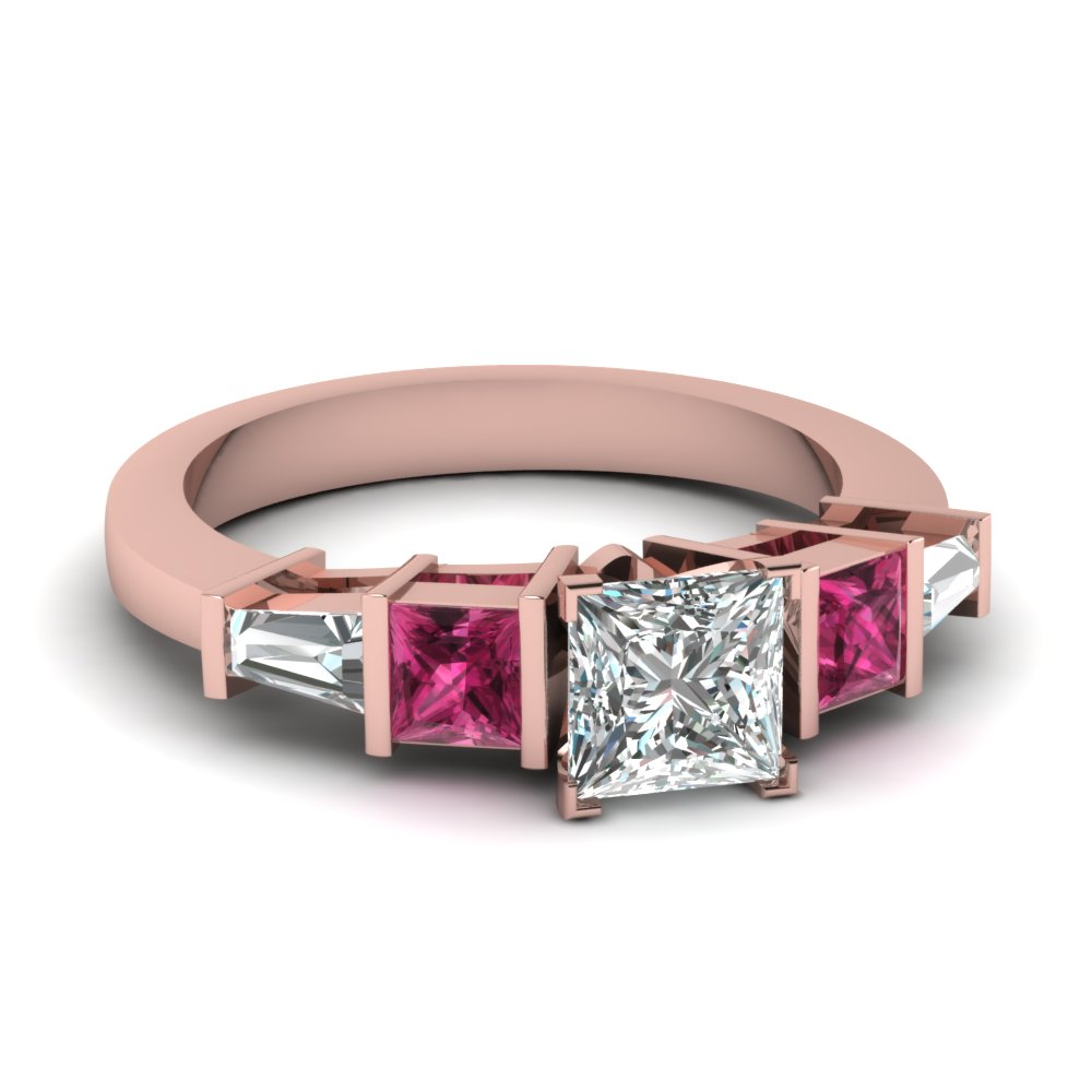 princess cut art deco bar diamond engagement ring with pink sapphire in FDENR2751PRRGSADRPI NL RG