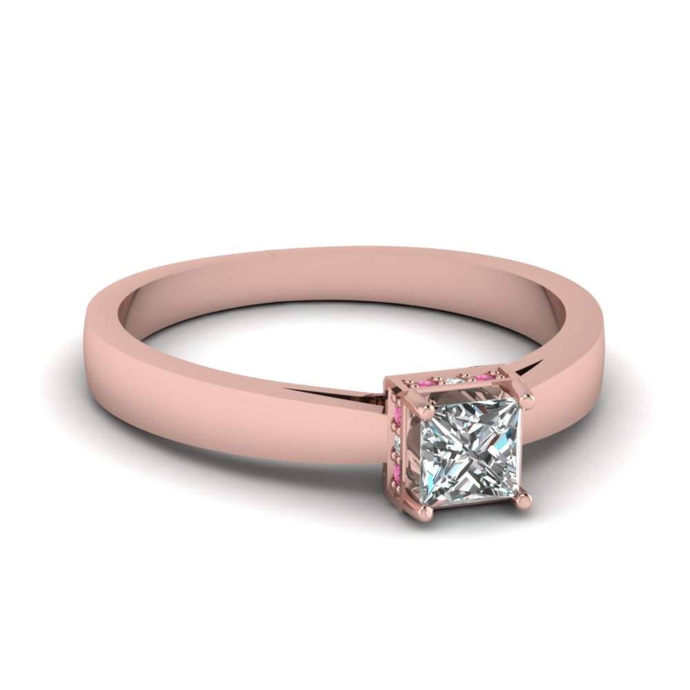 14K Rose Gold Pave Pink Sapphire Side Stone Engagement Rings ...