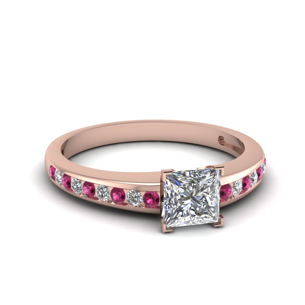 Princess cut channel diamond with pink sapphire engagement for Princess cut pink diamond wedding rings