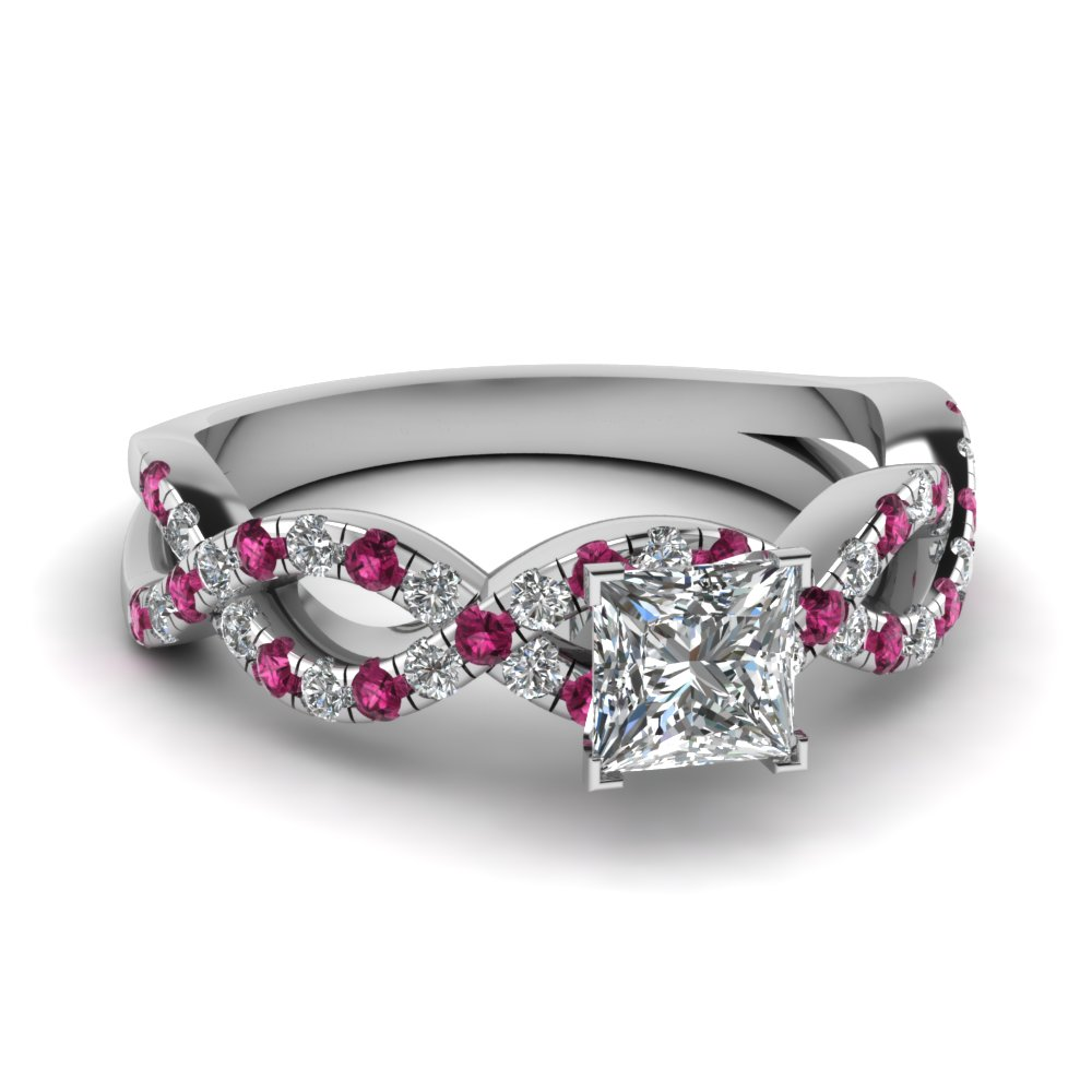 princess cut infinity moissanite engagement ring with pink sapphire in FD1121PRRGSADRPI NL WG