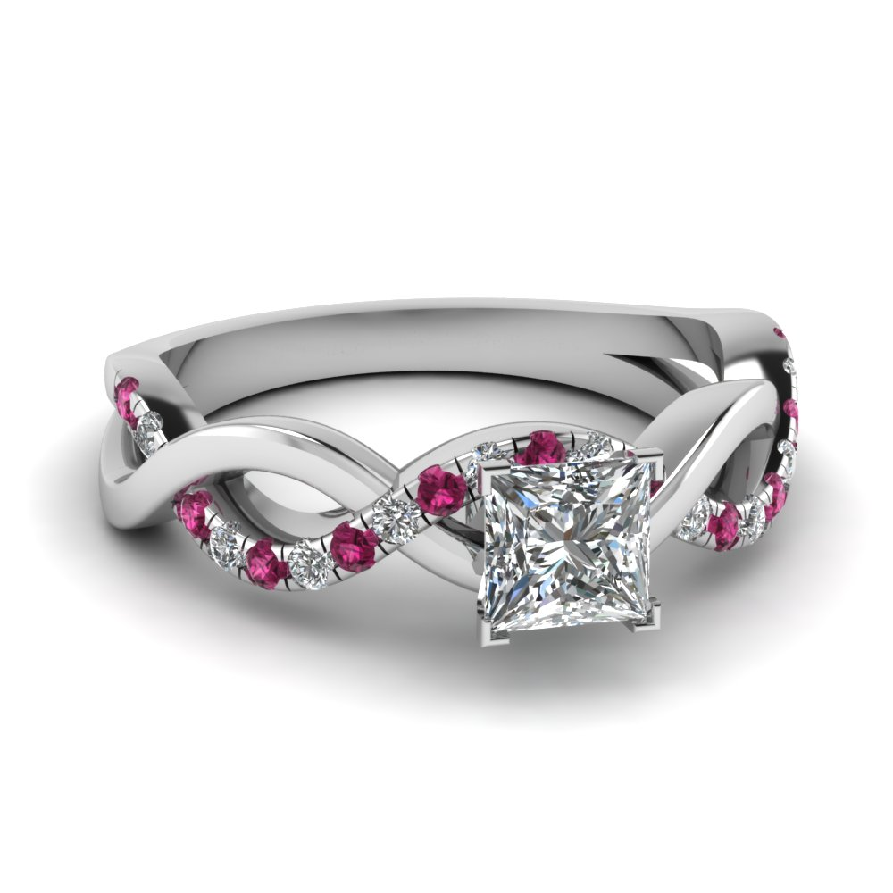 infinity princess cut diamond engagement ring with pink sapphire in FD1122PRRGSADRPI NL WG