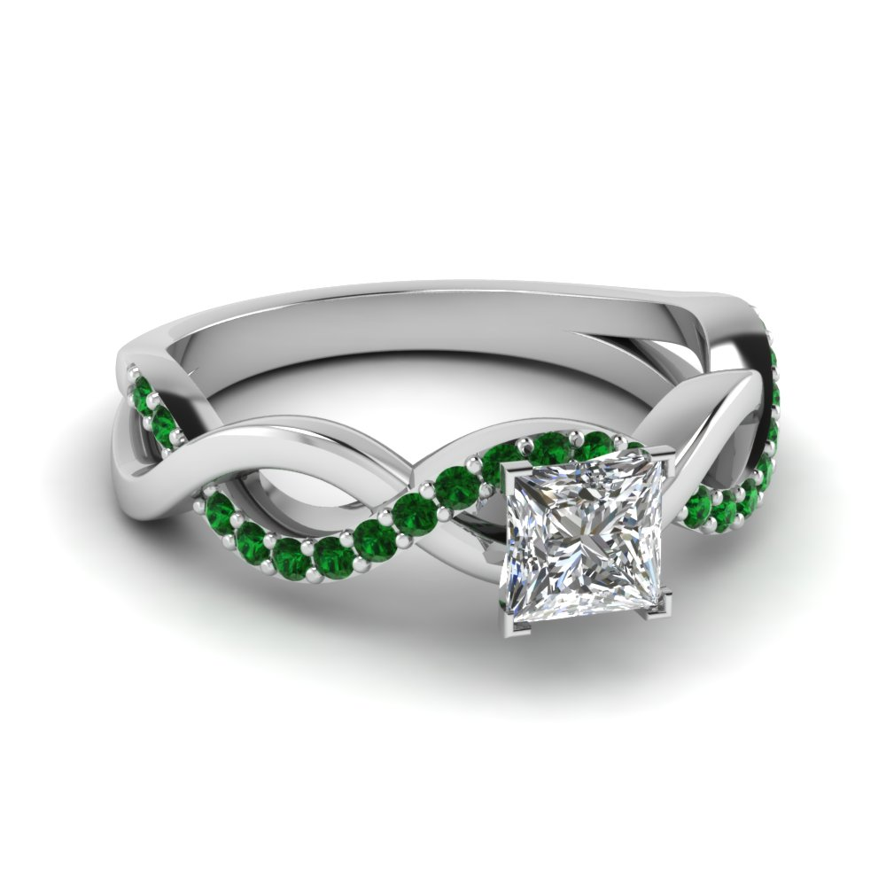 princess cut diamond engagement ring with emerald in 14K white gold FD1122PRRGEMGR NL WG GS
