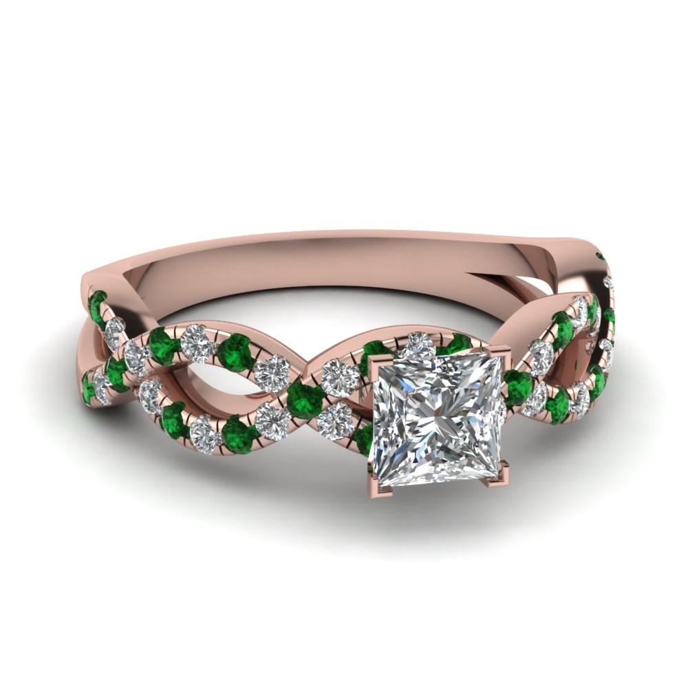 princess cut infinity diamond ring with emerald in 14k rose gold