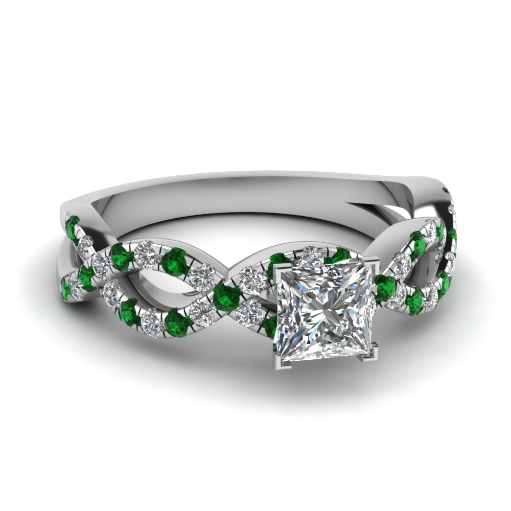 Infinity Emerald  Engagement Ring