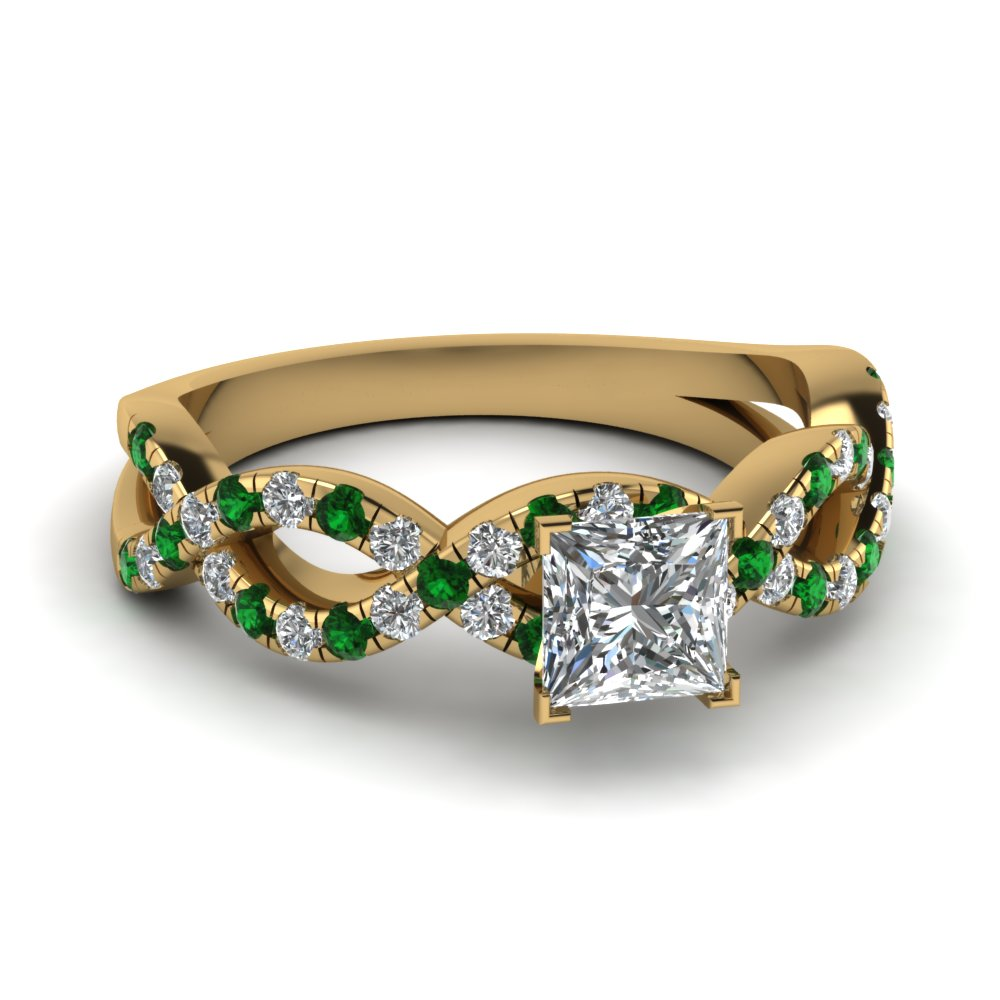princess cut infinity ring with emerald in 18k