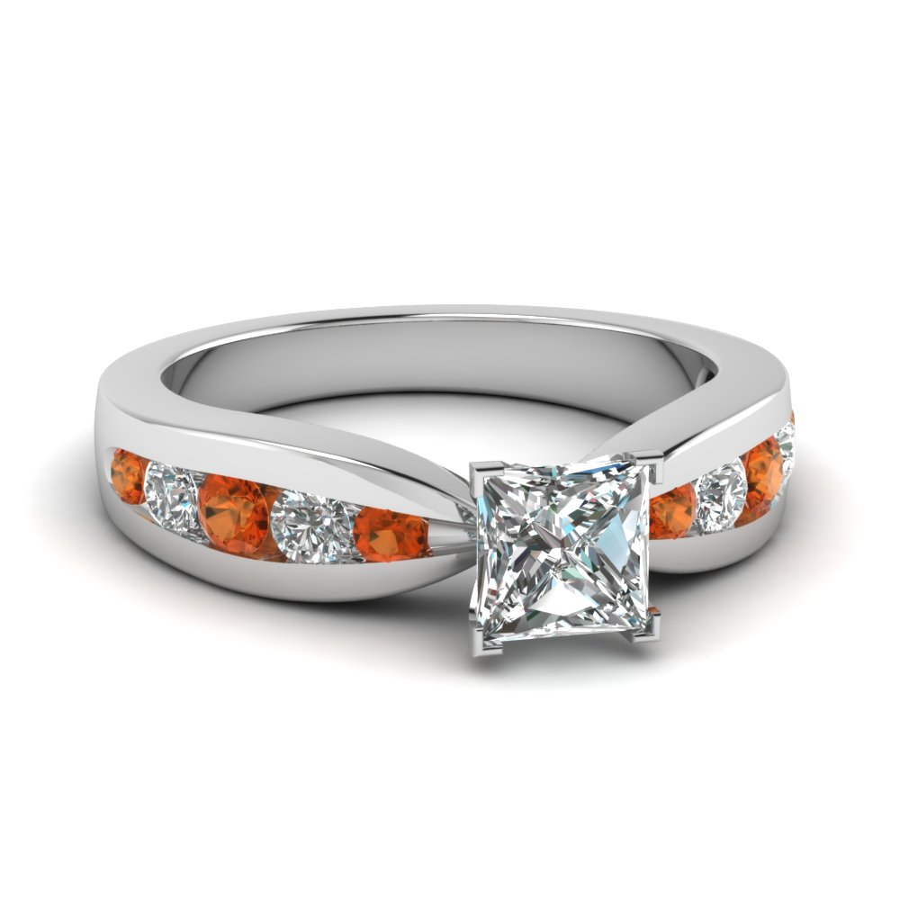 tapered channel set princess cut diamond engagement ring with orange sapphire in FDENR2224PRRGSAOR NL WG