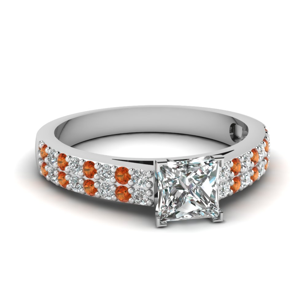 2 row princess cut diamond engagement ring with orange sapphire in FDENS3010PRRGSAOR NL WG