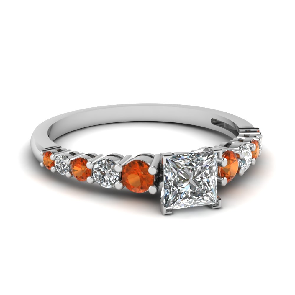 graduated princess cut diamond engagement ring with orange sapphire in FDENS3056PRRGSAOR NL WG
