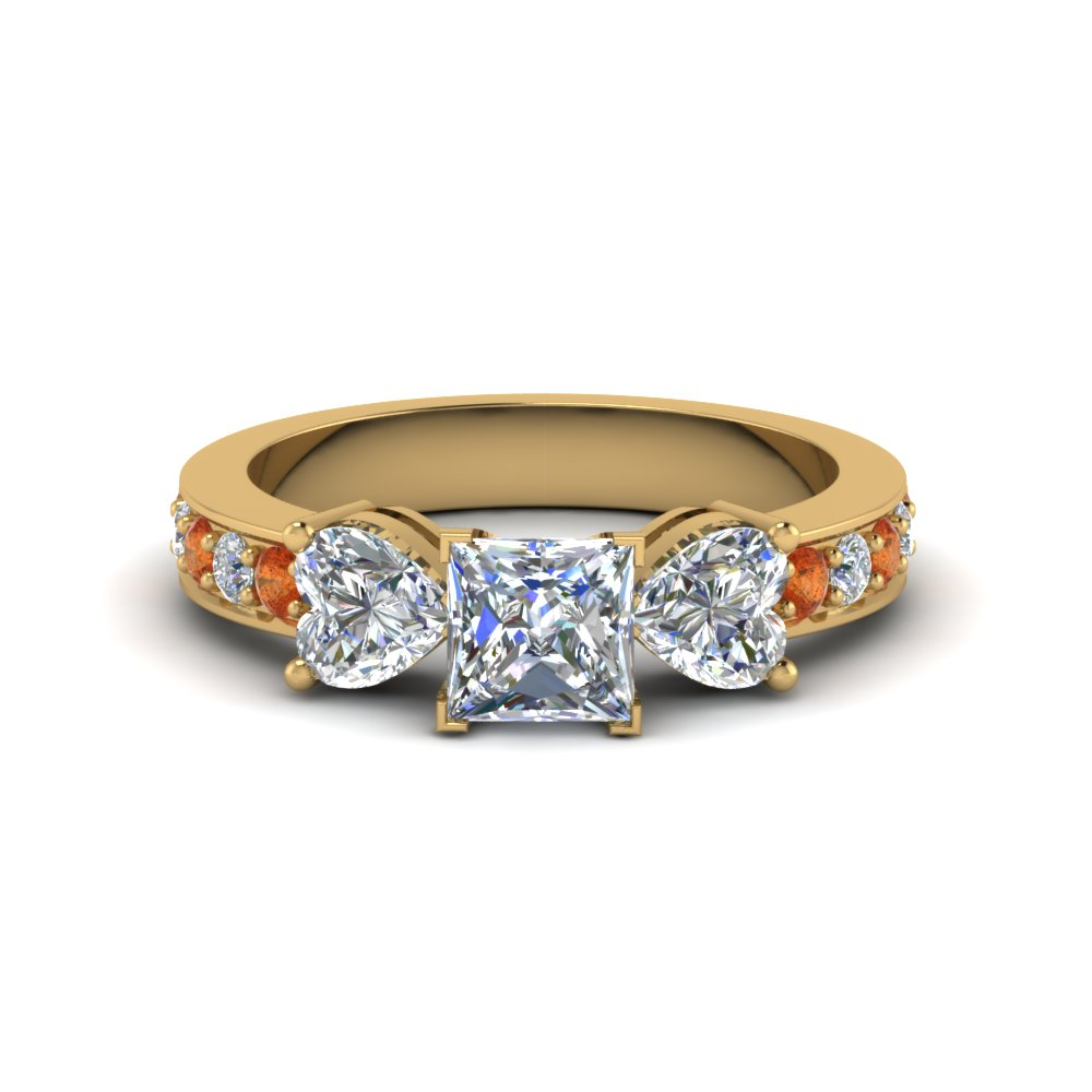 princess cut pave 3 stone diamond engagement ring with orange sapphire in FD8031PRRGSAOR NL YG