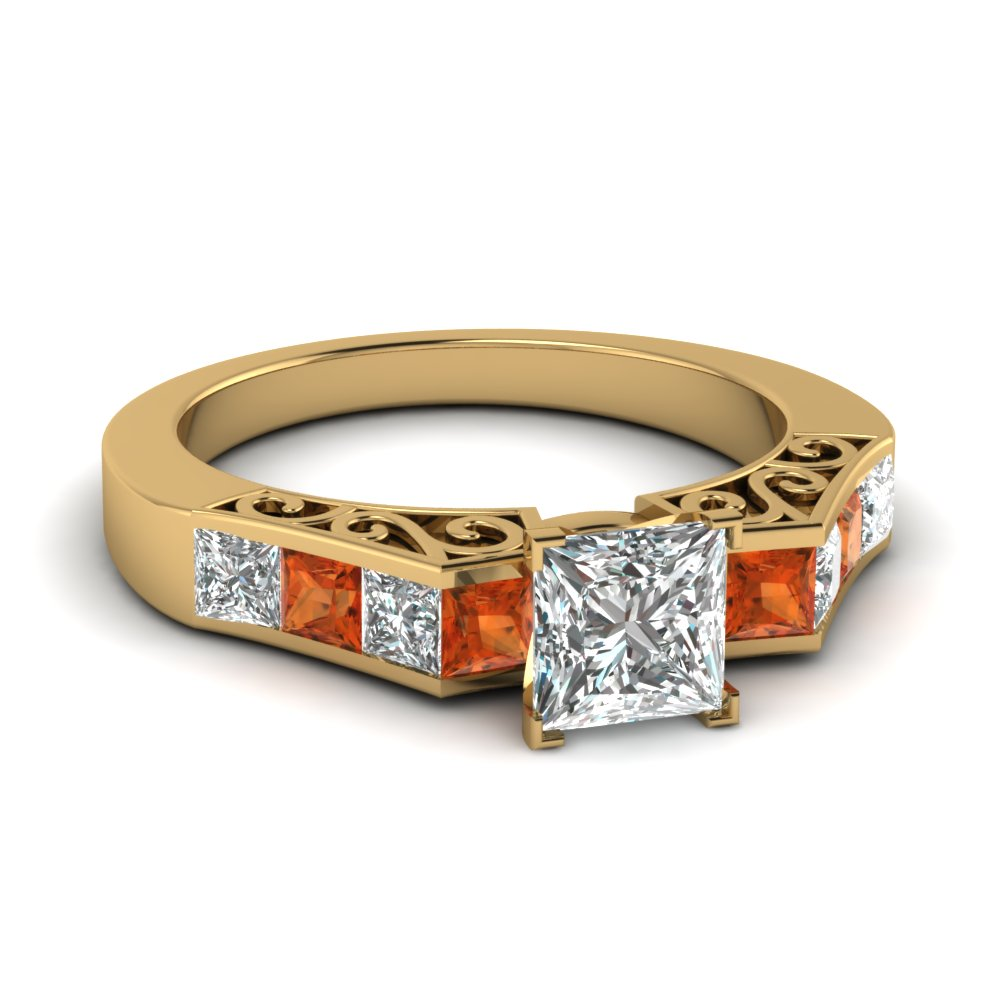 channel diamond princess cut vintage engagement ring with orange sapphire in FDENS151PRRGSAOR NL YG
