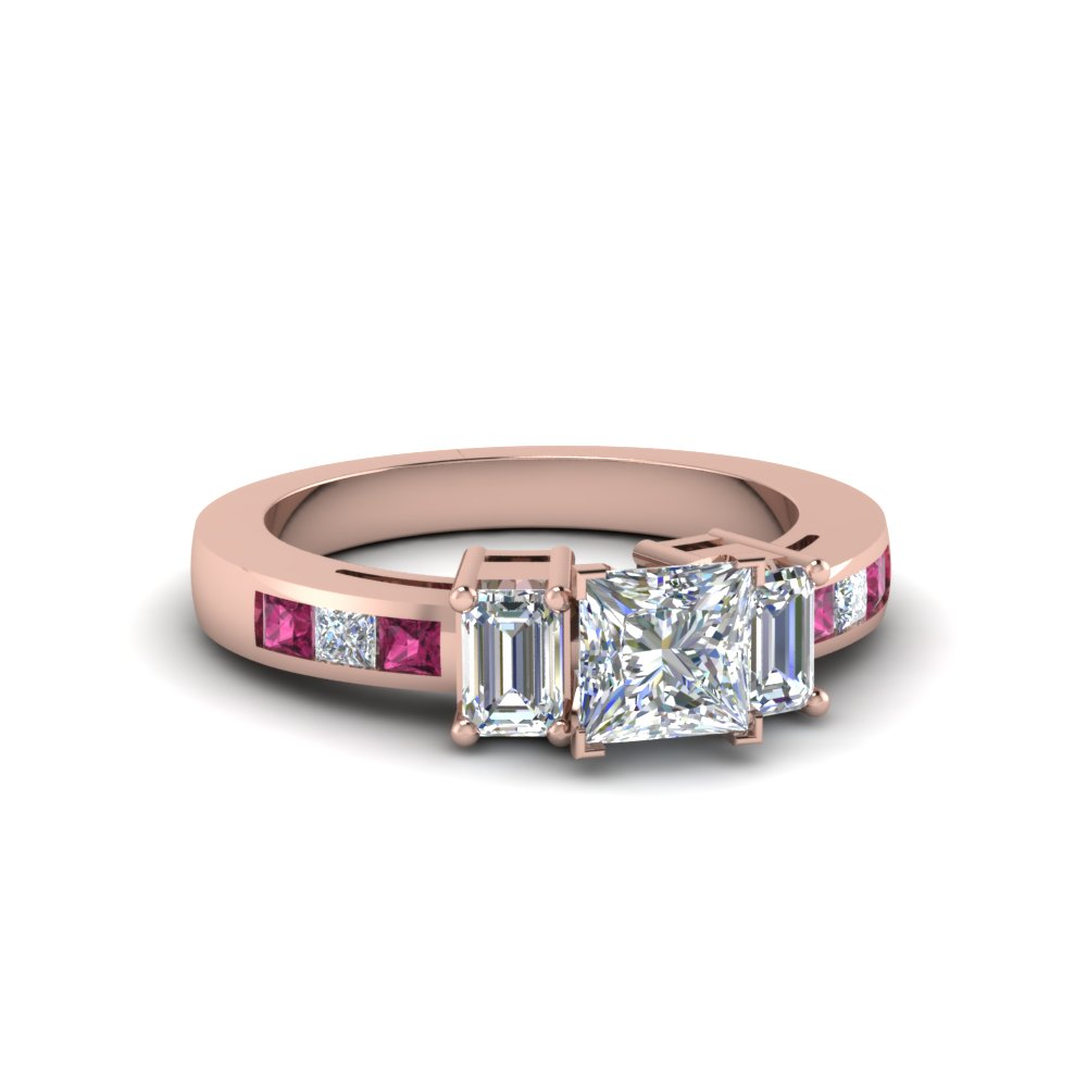 3 Stone Lab Diamond Ring With Pink Sapphire