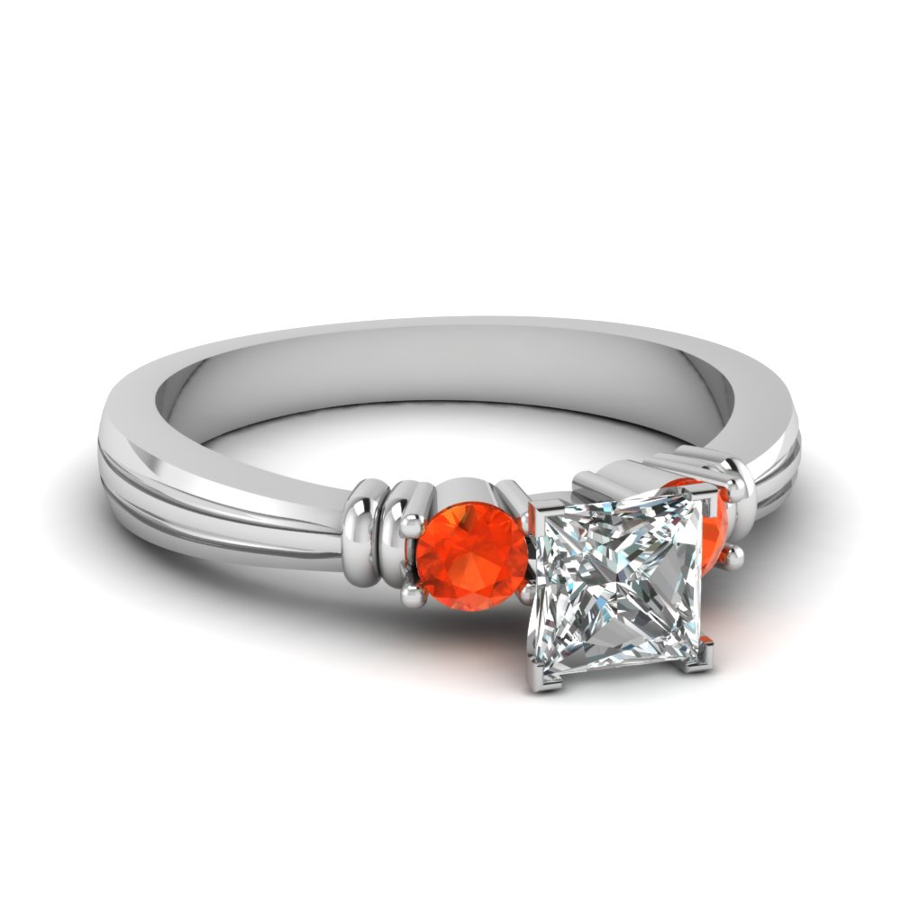 Classic Orange Topaz Diamond Ring